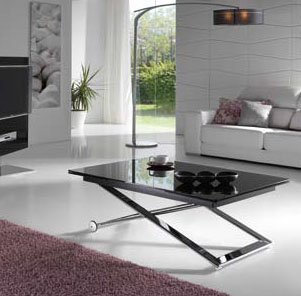 Mesa de centro elevable a comedor de pata de tijera for Mesa cristal 4 personas