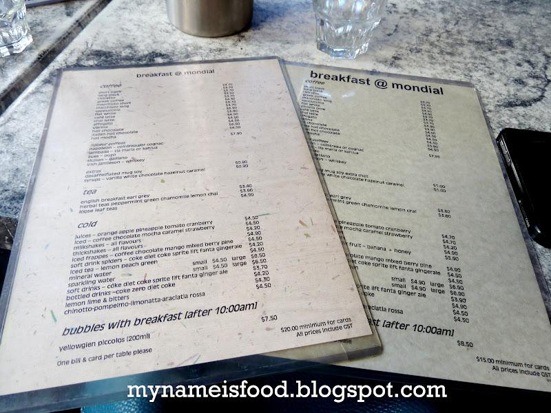 Cafe Mondial Breakfast Menu