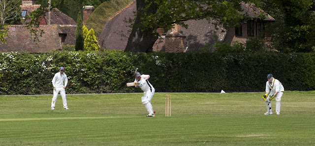 Cricket on Leigh village green, 19 May 2012.