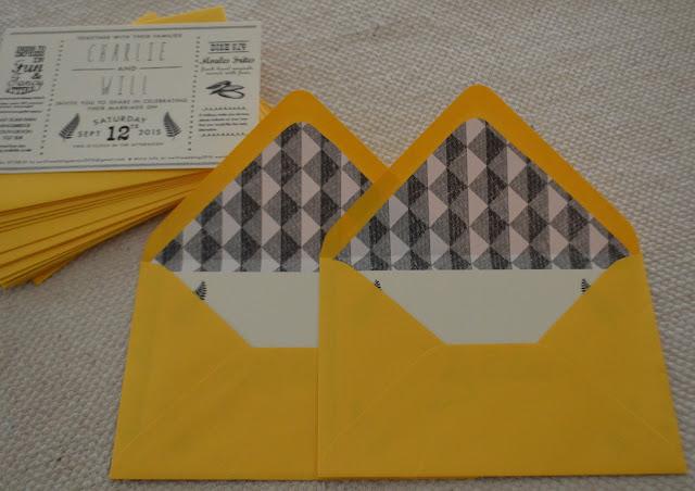 Nothing New Blog Wedding Invites Lined Envelopes
