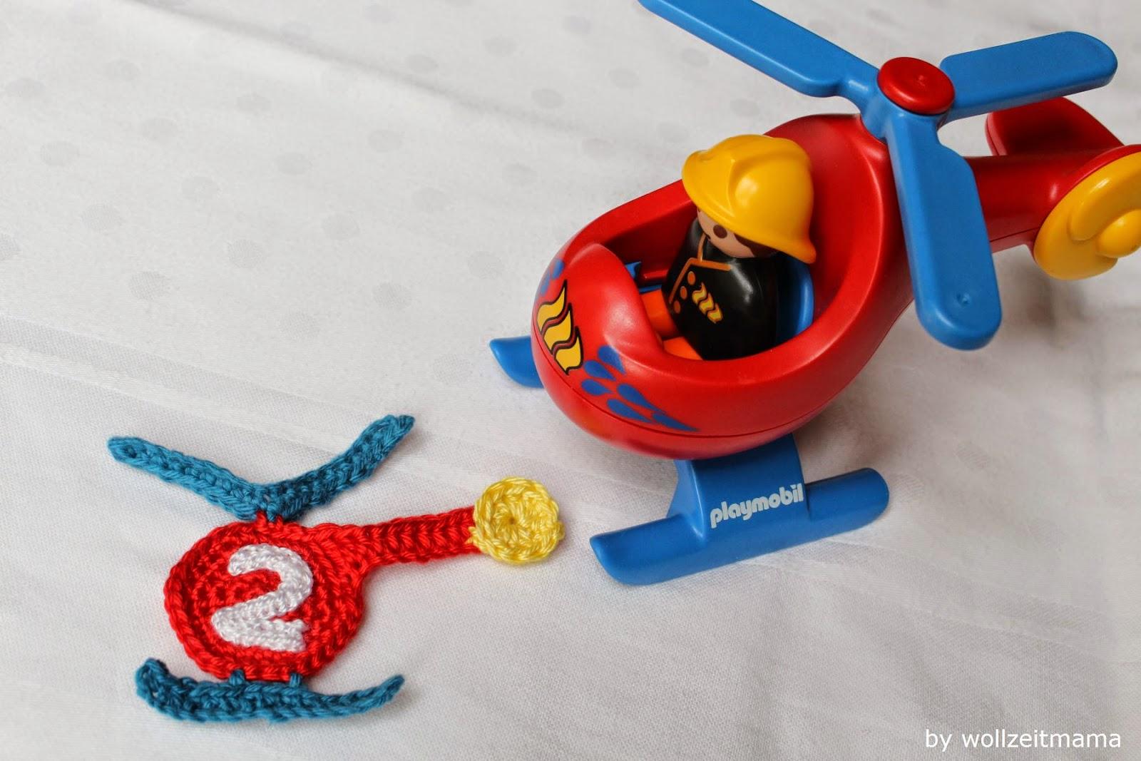 Hubschrauber häkeln als Applikation für Kinder