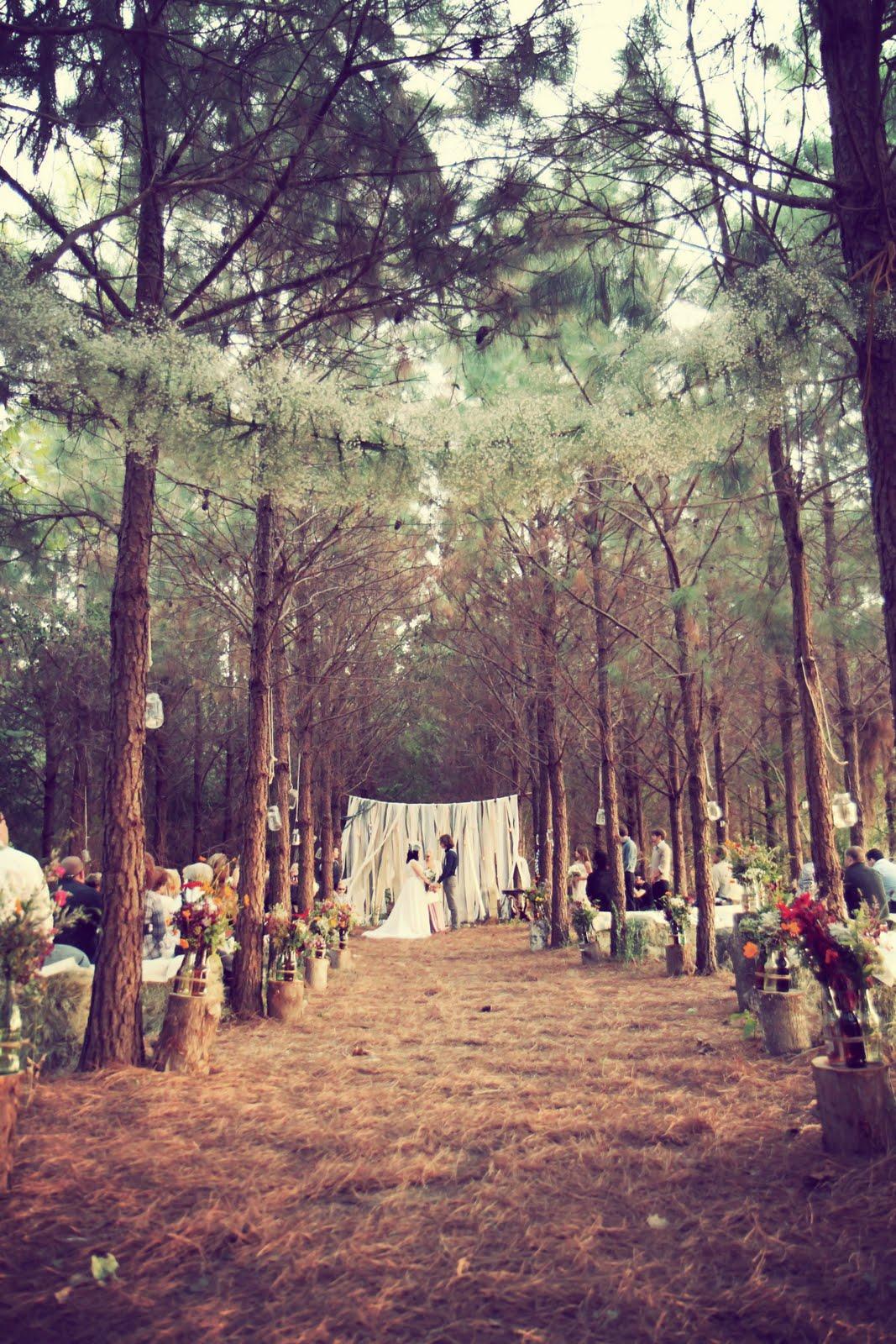 Backyard Forest Wedding : Aqui os noivos fizeram um esp?cie de cortina para o lugar da