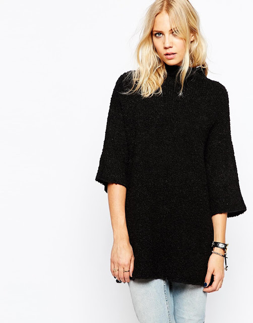 just female black jumper, loose black knit jumper,