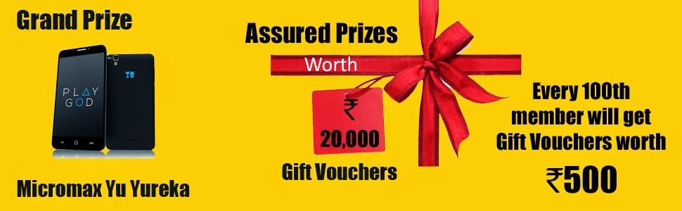 Win Micromax Yureka & gift voucher worth Rs.500 daily