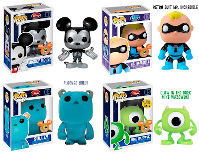 San Diego Comic-Con 2011 Exclusive Pop! Disney Vinyl Figures - Metallic Mono Mickey Mouse, Retro Suit Mr. Incredible, Flocked Sully & GID Mike Wazowski