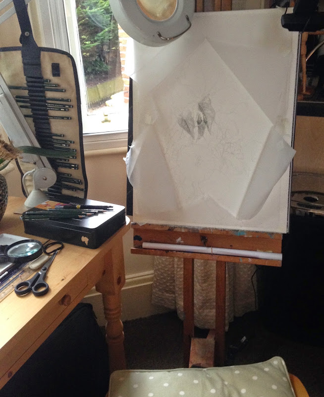 First stages of drawing on the easel