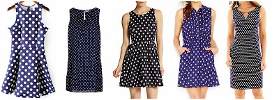 Romwe Navy Sleeveless Polka Dot Flare Dress $21.33 (regular $40.98)  Jacqueline de Yong Short Dress $25.00  Saks Fifth Avenue RED Polka Dot Textured Fit-and-Flare Dress $41.99 (regular $98.00)  Maison Jules Printed Shirtdress $47.99 (regular $79.50)  Black Label by Evan Picone Sleeveless Chain Detail Keyhole Dot Dress $47.99 (regular $80.00)