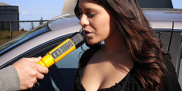 Woman Blowing Into Alcoblow Breathalyser