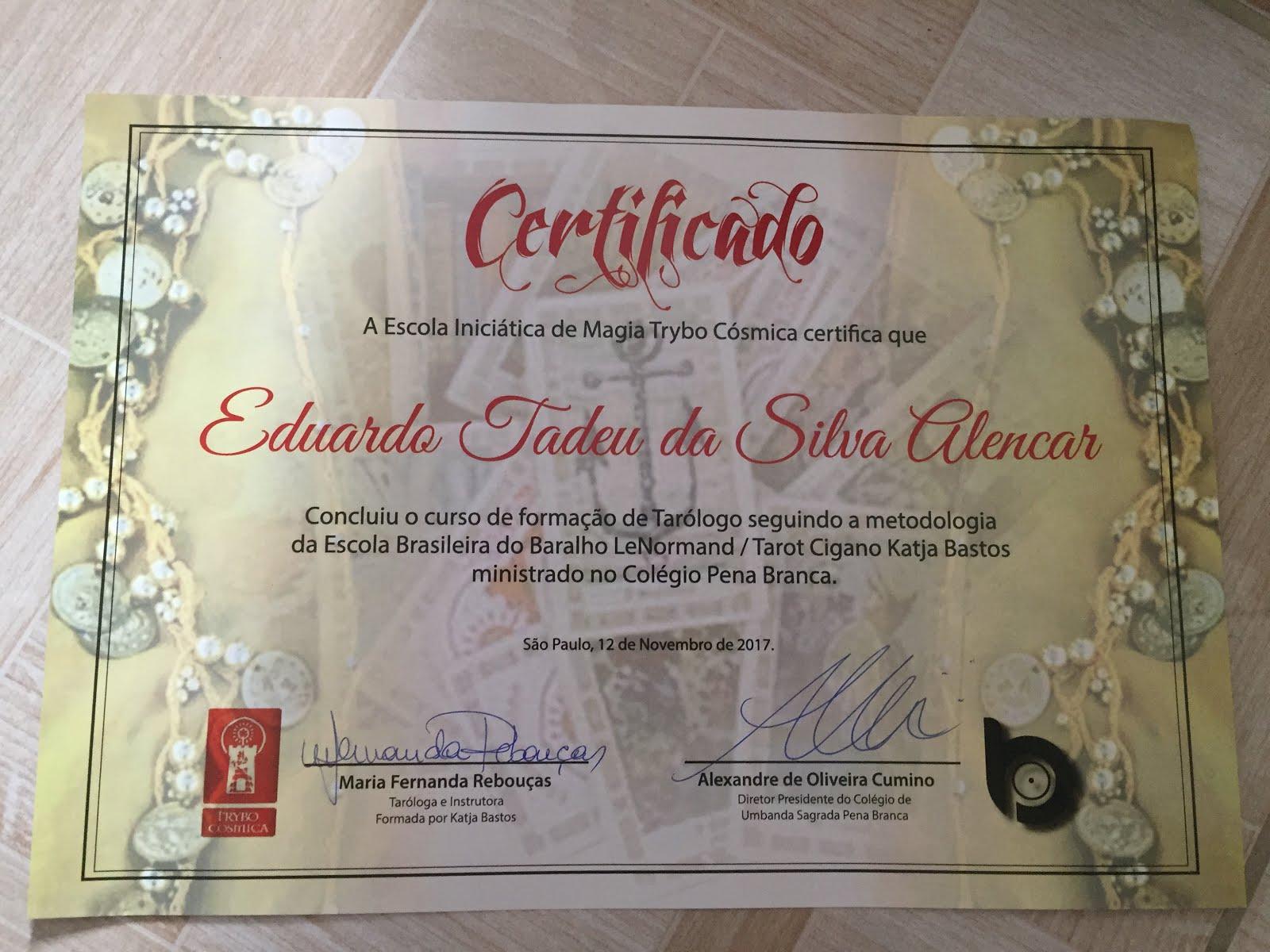 Certificado: Curso de Tarot
