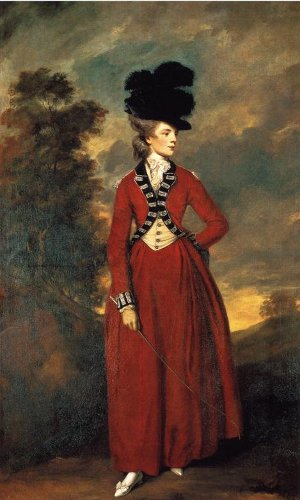 Eighteenth century full-length portrait of a slender young woman in a riding habit, 'Lady Worsley' by Joshua Reynolds