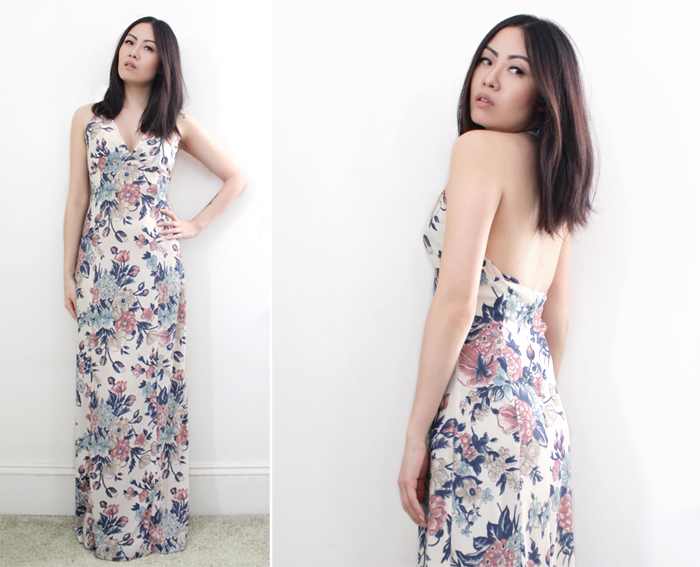vintage 70s fashion maxi dress