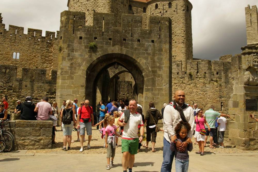De ingang van de vestingsstad Carcassonne in Frankrijk