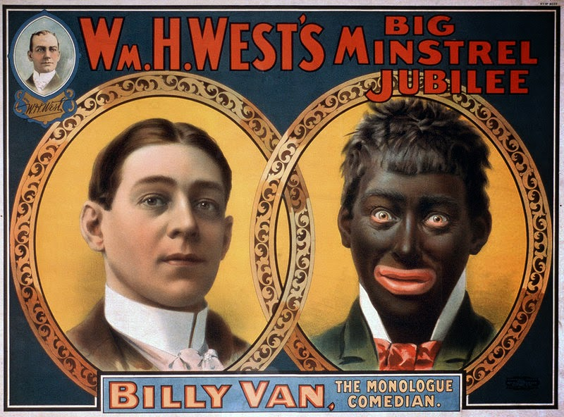 1900 William H. West blackface minstrel show poster, from white to black
