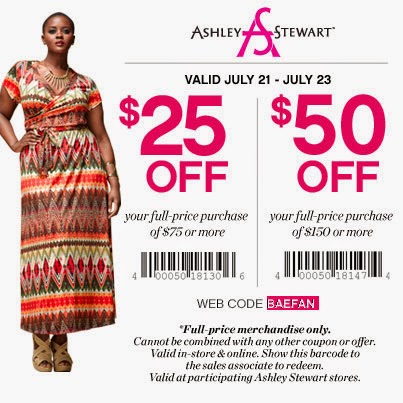 Ashley Stewart Coupon Codes, Promos & Sales. To find the latest Ashley Stewart coupon codes and sales, just follow this link to the website to browse their current offerings. And while you're there, sign up for emails to get alerts about discounts and more, right in your inbox.