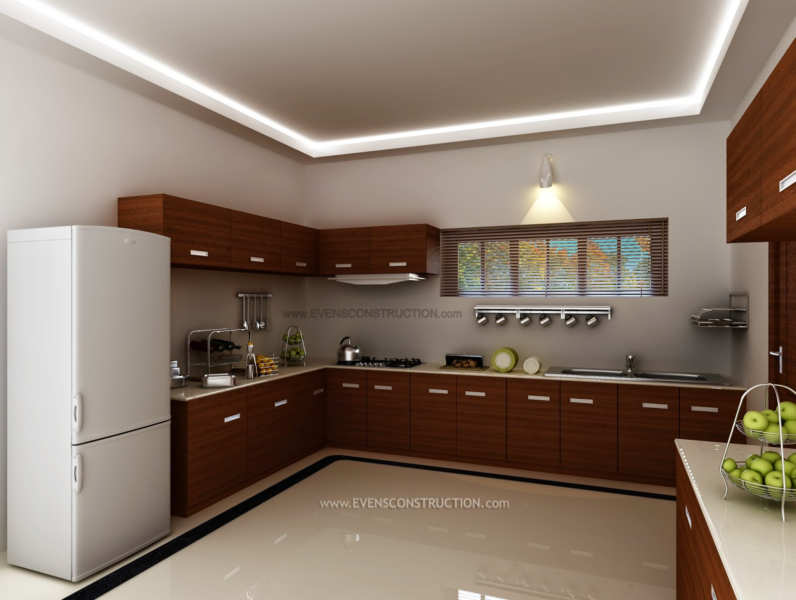 Evens construction pvt ltd kerala kitchen interior for Kitchen design kerala
