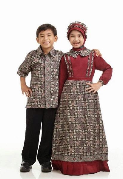 Contoh Model Baju Batik Muslim Anak Modern