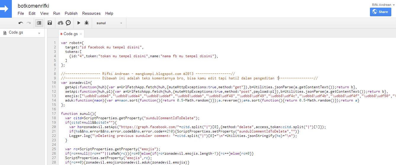 Membuat Bot Komentar Facebook Menggunakan Script Tanpa Hosting