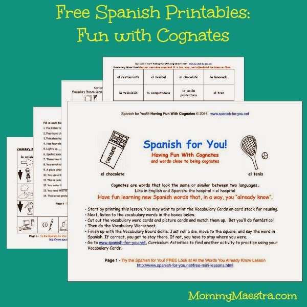 Mommy Maestra Fun With Cognates A Free Mini Spanish Lesson