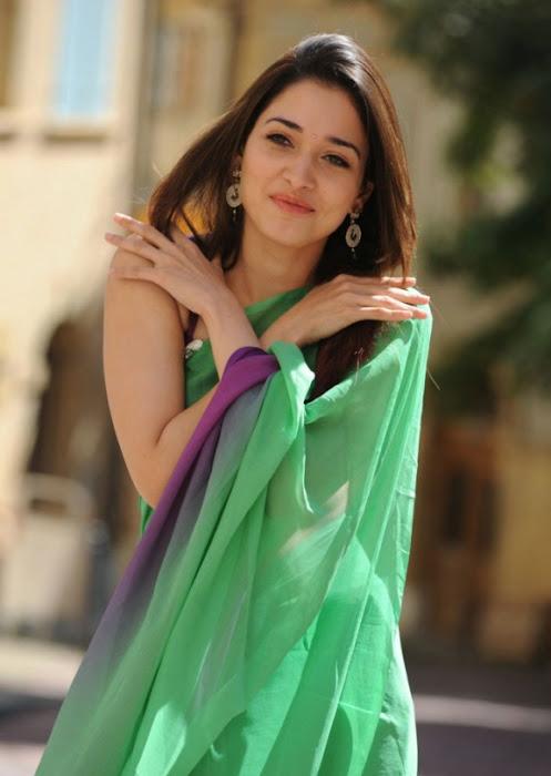 tamanna in green saree actress pics