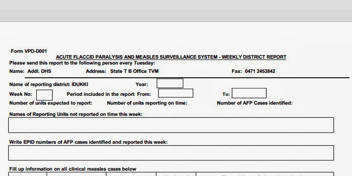 NEW FORMAT REVISED AFP WEEKLY REPORTING FORM | Arogyajalakam