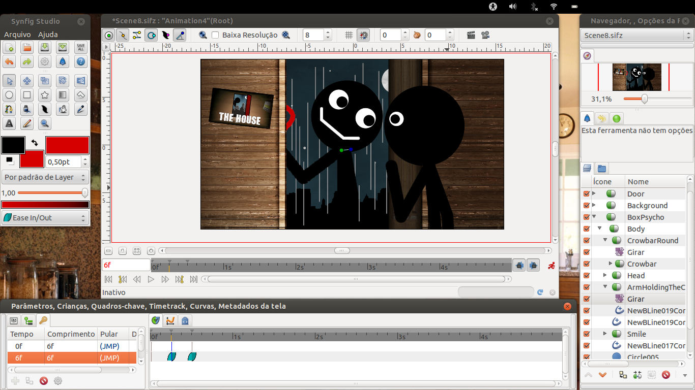 Desktop screenshot of a scene of The Box 2 being worked on Synfig