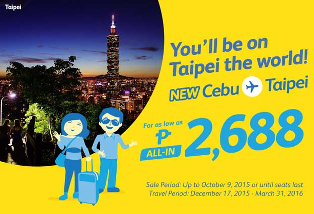 Cebu Pacific Promo Cebu to Taipei 2015 to 2016