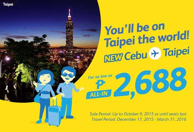 Cebu Pacific Promo Cebu to Taipei 2015 to 2016