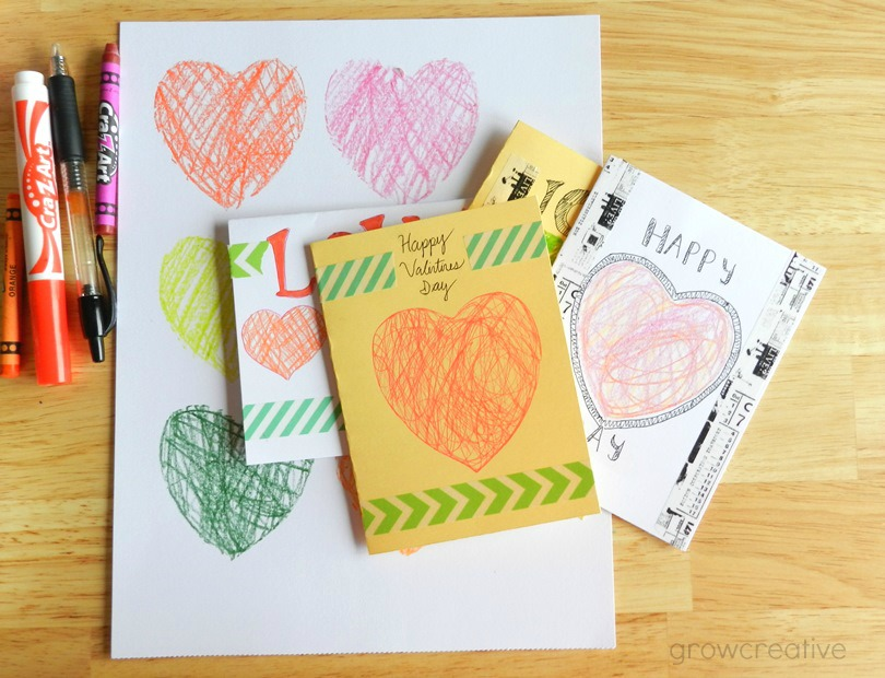 Cookie Cutter Stencil Scribbled Hearts Cards