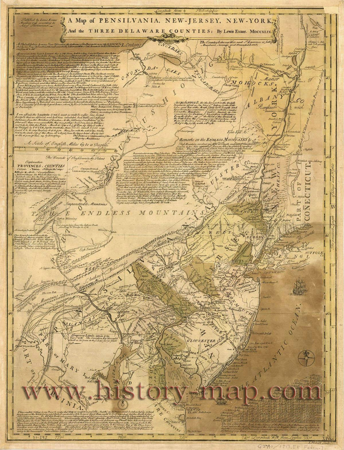 1776 notes evans 1749 map as printed at philadelphia 1749 distance table ms note 18212 prime meridian london philadelphia relief pictorial