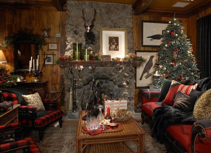 ralph lauren indian cove lodge christmas decor living room