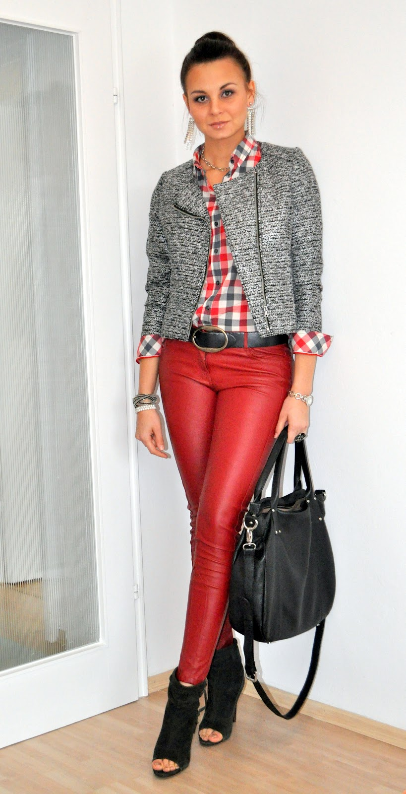 Nuras - Fashionstyle Outfit ( Red leather Pants )