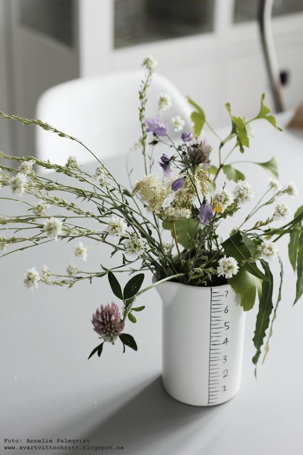 sommarblommor, blommor, ängsblomma, ängsblommor, vit kanna med svarta markeringar, porslinskanna, house doctor,