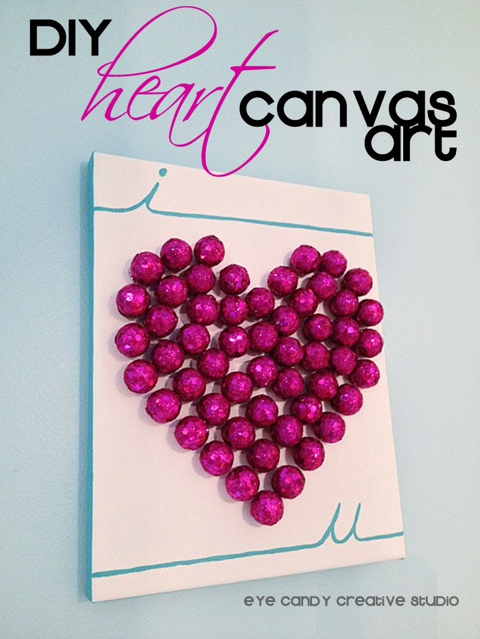 DIY project, heart art, canvas art, hot pink heart, valentines day art
