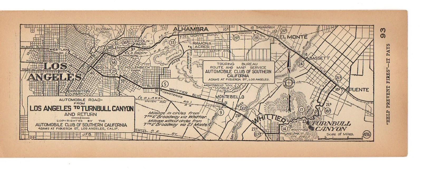 EAST SAN GABRIEL VALLEY  PUENTE AREA VINTAGE MAPS - Los angeles map vintage