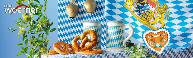 Oktoberfest-Dekoidee in typsch bayerischem Weiß-Blau