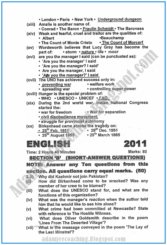 css english essay past papers 2011