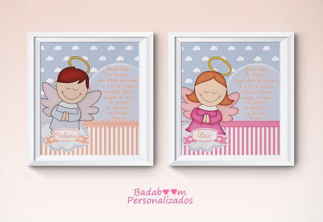 Anjo da guarda, prints, printable, quadro, quadrinhos, infantil, oração, anjinhos, anjos