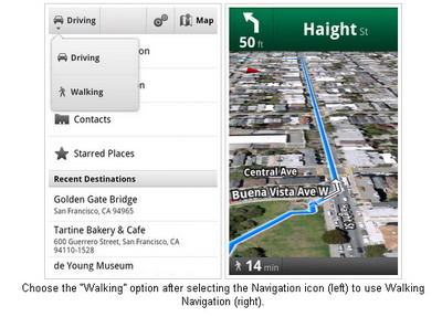 Google Maps mobile 4.5 for Android adds Walking Navigation and Street View smart navigation