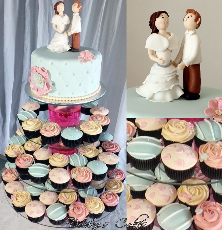 Pastel Colours Wedding Cake And Cupcakes
