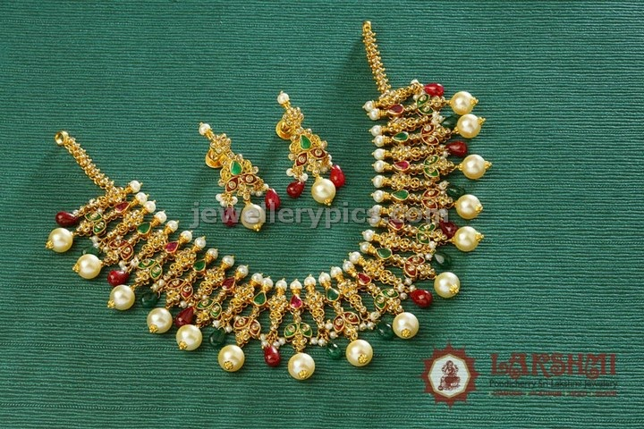 pondicherry lakshmi jewellers gond necklace set with south sea pearls