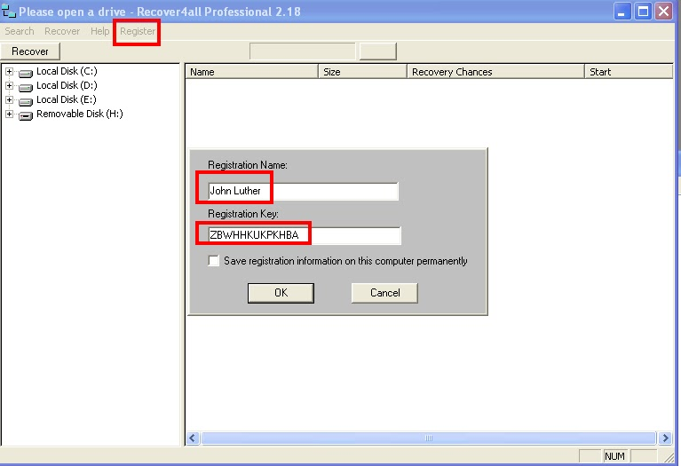 recover4all professional 4.04 registration key
