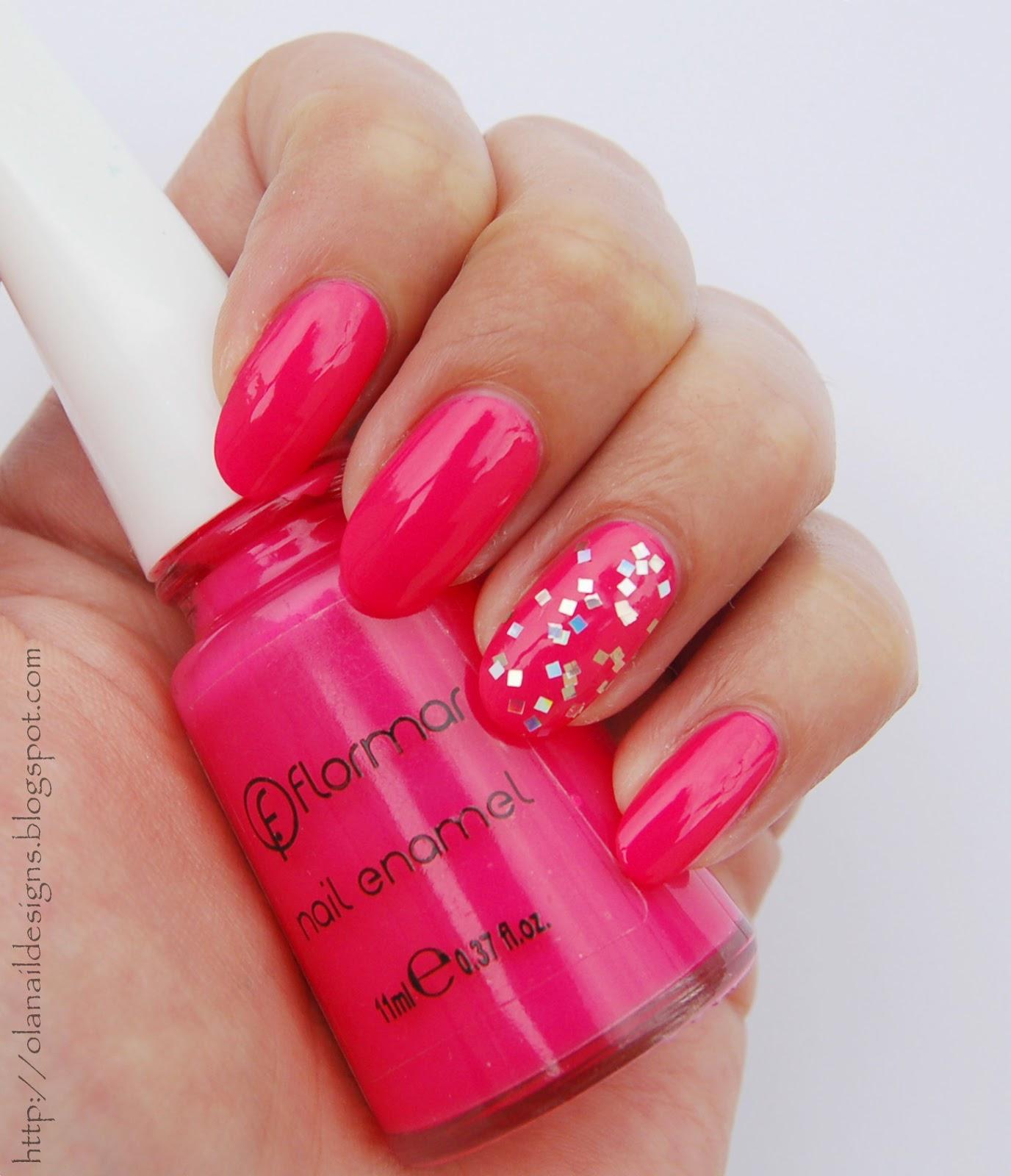 silver pink nails