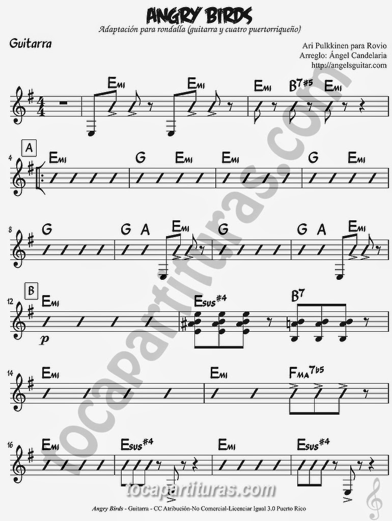 Angry Birds Partitura de Guitarra con Acordes Guitar Sheet Music with Chords