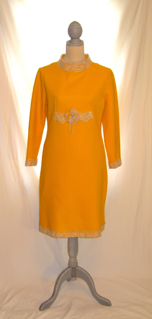 50s Vintage Long Deep Yellow Women's Dress, Embellished with Vintage Crochet and Lace