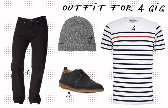 menswear casual outfit selection for going to a gig