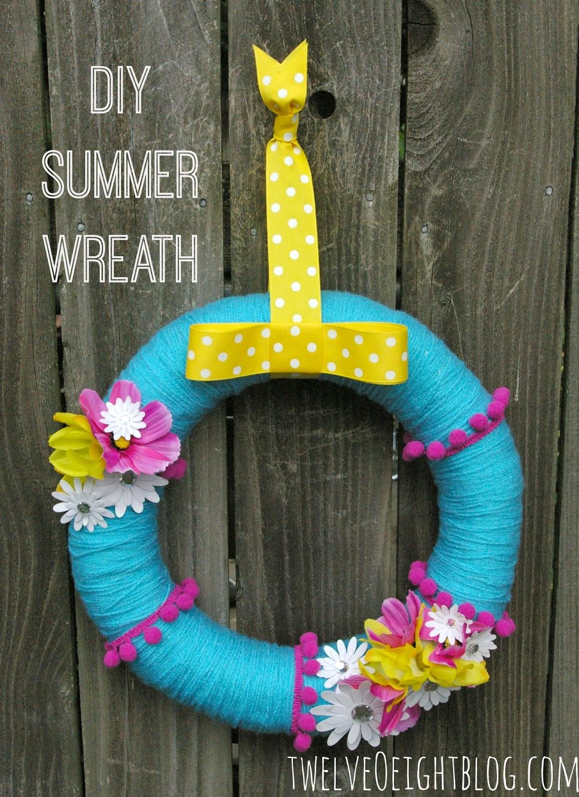Bright summer wreath for Diy summer wreath