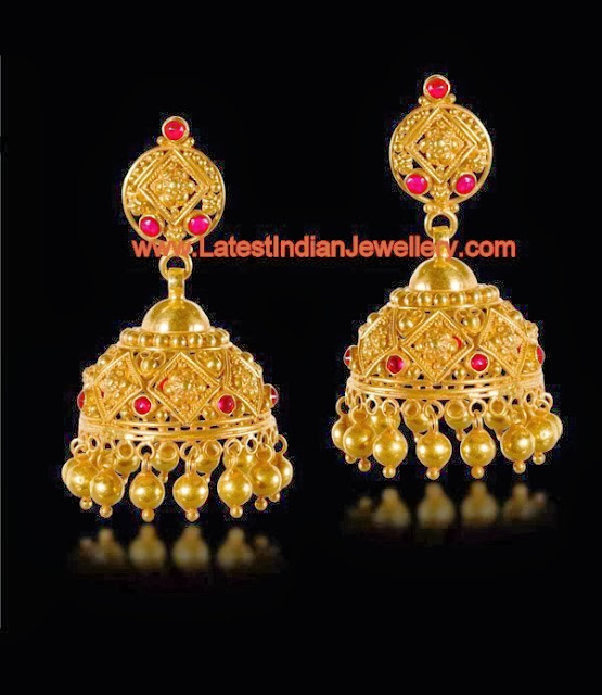 Charming Gold Jhumkis