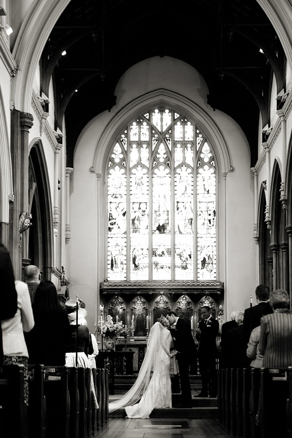 Bride and groom, wedding ceremony London Wedding at All Saints Church in Fulham