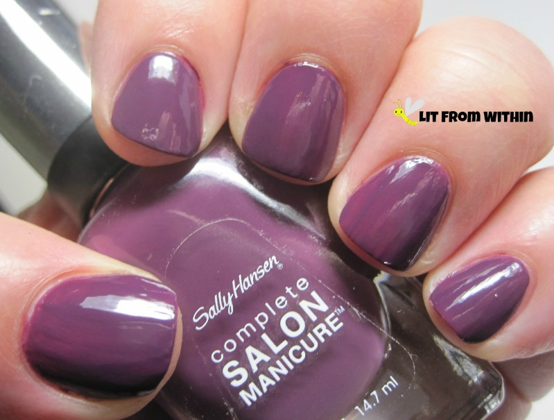 Sally Hansen Salon in Trouble Maker, a dark-orchid purple creme.