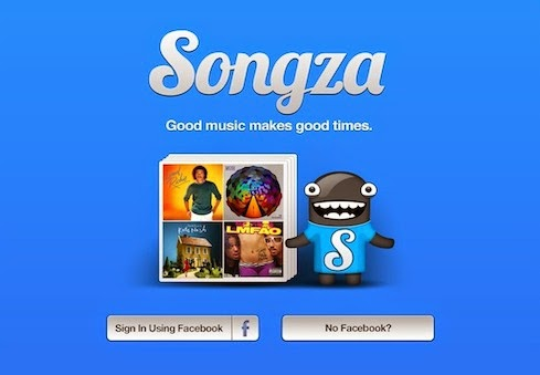 Songza login screen image